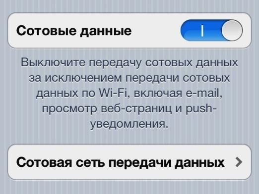 Як відключити інтернет на iphone?
