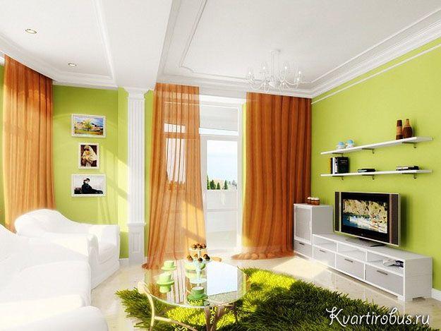 Зелені шпалери: які штори підкреслять їх?